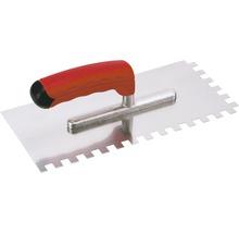 Edelstahl-Glättekelle Kaufmann gezahnt 10x10 mm mit Softgriff