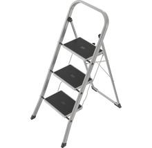 Klapptritt Leiter Stahl Hailo K41 3 Stufen weiß bis 150 kg belastbar