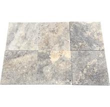 Flairstone Travertin Terrassenplatte Genua grau 40,6 x 40,6 x 3 cm