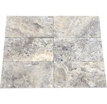 Flairstone Travertin Terrassenplatte Genua grau 40,6 x 20,3 x 3 cm