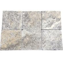 Flairstone Travertin Terrassenplatte Genua grau 20,3 x 20,3 x 3 cm