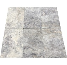 Flairstone Travertin Terrassenplatte Genua grau 61 x 40,6 x 3 cm