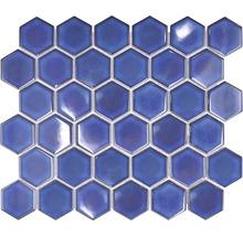 Keramikmosaik HX560 Hexagon Uni kobaltblau glänzend