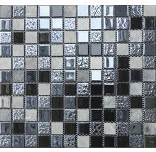 Glasmosaik mit Naturstein schwarz 30,5x32,5cm
