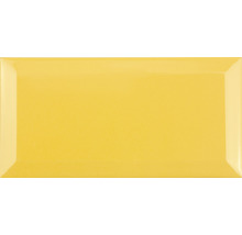 Metro-Fliese mit Facette Amarillo Yema glänzend 10 x 20 cm