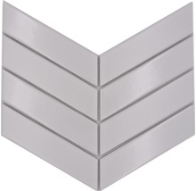 Keramikmosaik Chevron mix white 22,4x31,8 cm