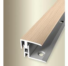 Endprofil 560H Alu mit Holzdekor Eiche weiß 100cm