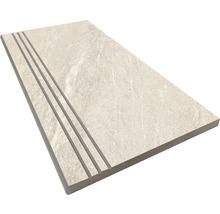 Stufenplatte abgerundet Aspen bianco 30x60 cm
