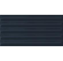 Steingut Wandfliese Drapes blue Lines 10x20 cm