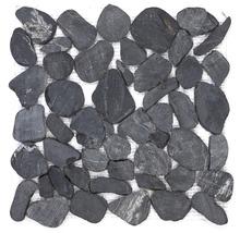 Flusskieselmosaik Black Flat schwarz
