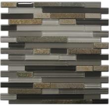 Natursteinmosaik Quarzit black-grey 30x30cm