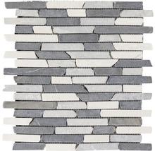 Marmor-Natursteinmosaik Slim Brick grau/weiß