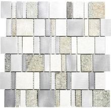 Natursteinmosaik XSA 515 silber/grau 30x30 cm