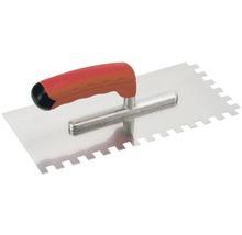 Edelstahl-Glättekelle Kaufmann gezahnt 12x12 mm mit Softgriff