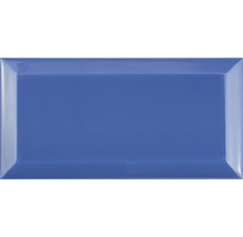 Metro-Fliese mit Facette blau Azul glänzend 10 x 20 cm